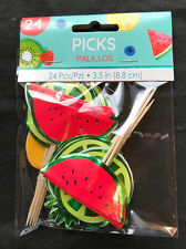 24 x Tropical Fruit Food & Drink Picks Cocktail Umbrellas Hawaiian Tableware