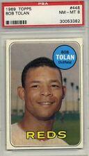 1969 Topps Reds Bob Tolan #448, PSA 8 SET BREAK
