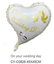"Wedding Foil Party Balloon Celebration Helium 18"" HEART - ON YOUR WEDDING DAY"
