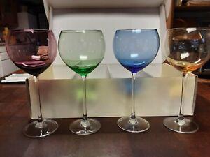 LENOX BALLOON WINE GLASSES ASSORTED COLOR GEMS IN ORIGINAL BOX