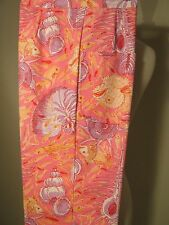 Vintage Lilly Pulitzer The Lilly pink lavender shell fish print pants XS/S