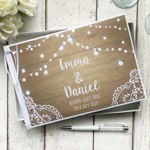 PERSONALISED WEDDING GUEST BOOK ~ RUSTIC WOOD LACE FESTOON LIGHTS ~SIGN/PEN SET