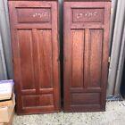 "pair vintage built in cabinet doors raised panel c1880 chestnut 63 x 25.5"" ea"