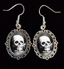 Skull Optical Illusion Romantic Couple Antique Silver Drop Earrings Goth Weird