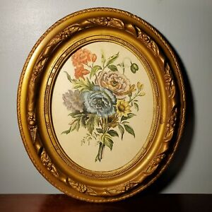 Antique Floral Print in Early 19th Century Gold Gilt Art Nouveau Oval Frame 10x8