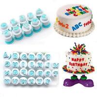 26PCS Alphabet Number Letter Fondant Cake Decorating Set Icing Cutter Mold Mould