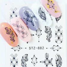 Nail Art Water Decals Stickers Transfers Black Flowers Tribal Lace Floral (882)