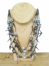Stunning Iridescent Black & Grey Beaded Shell Necklace Statement Jewellery