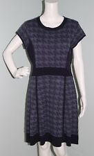 NWT Jessica Simpson Blue Houndstooth Short Sleeve Sweater Dress Size L Large
