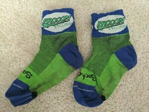 SockGuy Classic Cycling / Running Sock 6 cm Cuff - Size S/M - Blue/Green/White