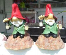 Vtg Pair (2) Garden Gnome battery light sensitive plastic blow mold Art Line