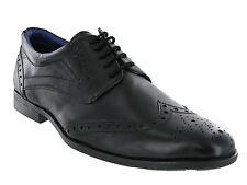 ROUTE 21 Noir richelieu cuir à lacets Confort chaussure habillée taille hommes