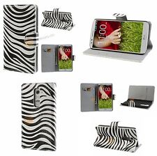 Zebra Flip Stand Ledertasche + Hard Case für LG Optimus G2 D801 D802 D803 Hülle