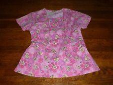 Women's Bear Scrub Top Size Small Medical Pink Cute AJ