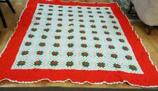 Vintage Knitted Afghan Red and Green Flowers Christmas Blanket