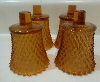 Set of 4  Amber Diamond point  Hobnail Votive Cups, Candle Holders, Sconces