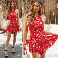 Womens Backless Floral Rompers Dress Holiday Party Clubwear Skater Mini Shorts