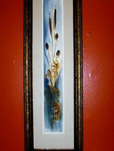 SUPERB Original Signed Misko Cattail Dried Grass Leaves W/C VINTAGE Art Michigan