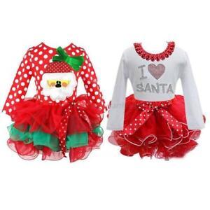 Kids Newborn Baby Girls Christmas Clothes Snowman Santa Tutu Skirt Dress Outfits