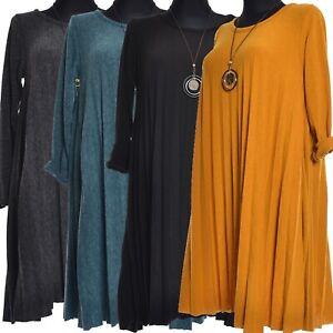Warm Kleid Tunika Long Pullover Winterkleid Falten Gelb Schwarz 40 42 44 46