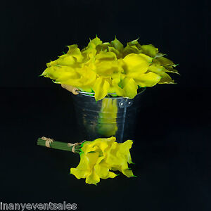 12 x REALISTIC Yellow Calla Lily Bunches – Artificial Flowers | WHOLESALE