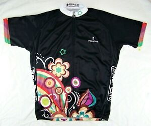PALADIN Floral Print by QinYing Black S/S Women's Cycling Jersey Shirt US 2XL