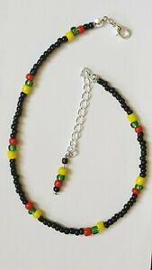 Anklet Bracelet Rasta Seed Beads with Siver Tone Trim ,Punk Hippy Beach Retro ,