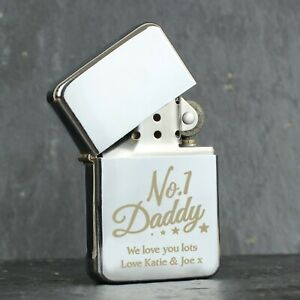 Personalised No.1 Daddy Engraved Silver Lighter - Fathers Day Dad Birthday Gift