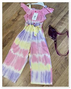 Girls Purple Tye Dye Jumpsuit With Bag. Aged 6yrs. Brand New