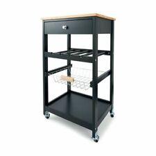New Kitchen Storage Trolley Island Bench with Wheels Portable Workbench Shelf S1