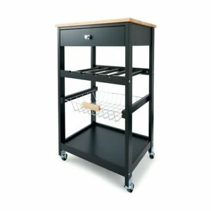 New Kitchen Storage Trolley Island Bench with Wheels Portable Workbench Shelf S1