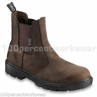 Contractor 804SM BROWN Leather Dealer Chelsea Safety Work Boots Shoes Steel Toe
