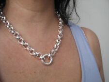Sterling Silver 12mm Hammered Rolo Link Necklace 20 inch Chain Solid 925