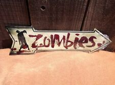 """Zombies Blood This Way To Arrow Sign Directional Novelty Metal 17"""" x 5"""""""