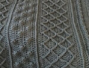 COUNTRY BLUE TEXTURED ARAN Crocheted Afghan Blanket 44 x 64