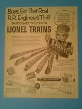1952 Lionel Electric Trains Model Railroad Boy Kids Vintage Toy Paper Trade Ad
