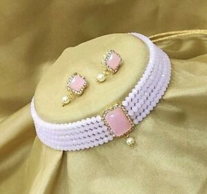 Indian Pearl Gold Necklace Choker Bollywood Bridal Wedding Jewelry Earring Set