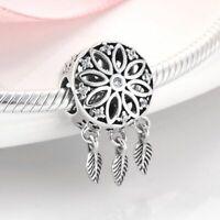 Echt Silber 925 Traumfänger Dreamcatcher Anhänger Charms für Pandora Armband Neu