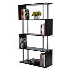 Black Gloss Shelving Unit Storage Display Bookcase Cabinet S Shape 5 Tier Decor