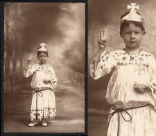 IRON CROSS & STARS POPE COSTUME BOY THROWS PEACE SIGN ~ 1900s VINTAGE PHOTO