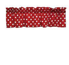 lovemyfabric Cotton White Polka Dots/Spots Design Kitchen Curtain Valance-Red