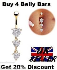 Belly Bars Gold Triple Hearts Dangle Navel Piercing Belly Bar Crystal Dangly NEW