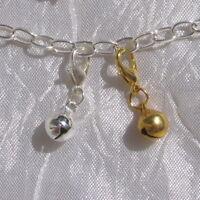 Charm clochette grelot AU CHOIX breloque avec mousqueton métal argenté ou doré