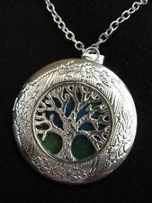 Árbol de la vida Medallón Collar Colgante Gótico azul verde vintage fantasía FAE