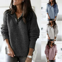 Sweatshirt Sweater Knitted Pullover Womens Long Tops Jumper Zipper Ladies Sleeve