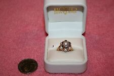 Vintage 14K Yellow Gold Pearl & Sapphire Ring VL 7.1 Grams
