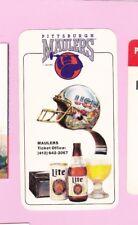 NICE 1984 PITTSBURGH MAULERS USFL MILLER LITE BEER SCHEDULE