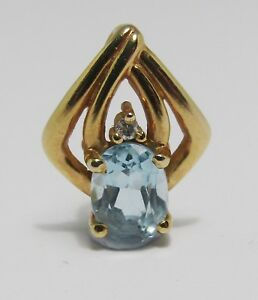 100% Genuine Vintage 9ct Solid Yellow Gold 0.94cts Topaz & Diamond Pendant