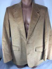 Vintage Pioneer Wear Mens Tan Corduroy Lined Sport Jacket Blazer Size 44