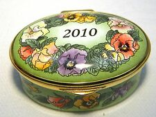 STAFFORDSHIRE  ENAMELS BOX  2010 A YEAR TO REMEMBER PANSY BOXED